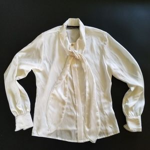 Counterparts Polyester Blouse Womens sz 8 Tie Neck